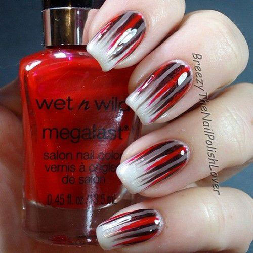 Black And Red Stripes Design Nail Art