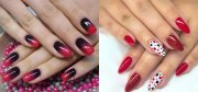 black & red gel nail art design