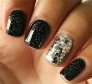 black & silver gel nail art