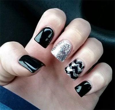 15+ Black & Silver Gel Nail Art Designs & Ideas 2016