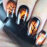 halloween gel nail art design