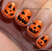 halloween pumpkin nails art