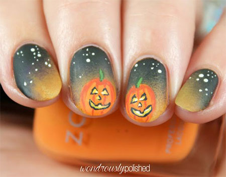 20 Simple  Easy Halloween Themed Nails Art Designs 2016