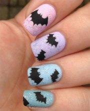 halloween bat nails art design