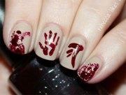 halloween blood nail art design