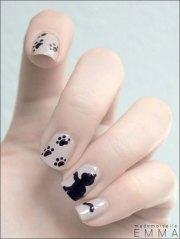 halloween cat nail art design