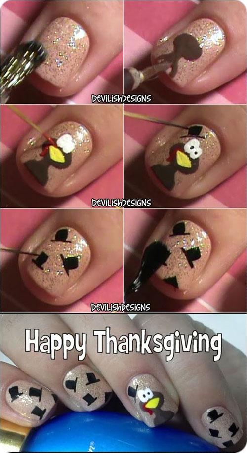 Cute Easy Thanksgiving Nail Art Designs Ideas 2016