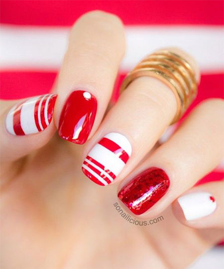 12 Red Green  White Christmas Nail Art Designs  Ideas