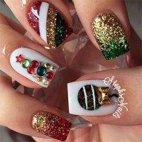 15+ Christmas Glitter Acrylic Nail Art Designs 2016 | Xmas ...