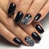 18 Awesome Winter Black Nails Art Designs & Ideas 2016