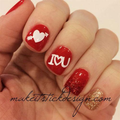 18 Cute Romantic I Love You Nail Art