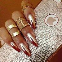 18 Gold & Silver Chrome Nails Art Designs & Ideas 2017 ...