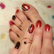 chrome toe nails art design &