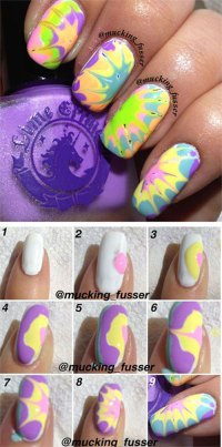 Easy Step By Step Marble Nails Art Tutorials For Beginners ...