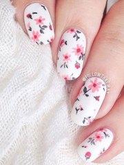 pink floral nail art design