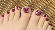 autumn toe nail art design & ideas