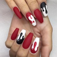 15+ Black, White & Red Halloween Nails Art Designs & Ideas