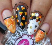 halloween candy corn nails art