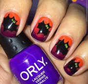 halloween bat nails art design