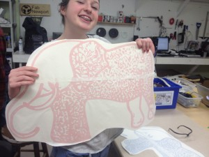 Megan showing off her elephant art.