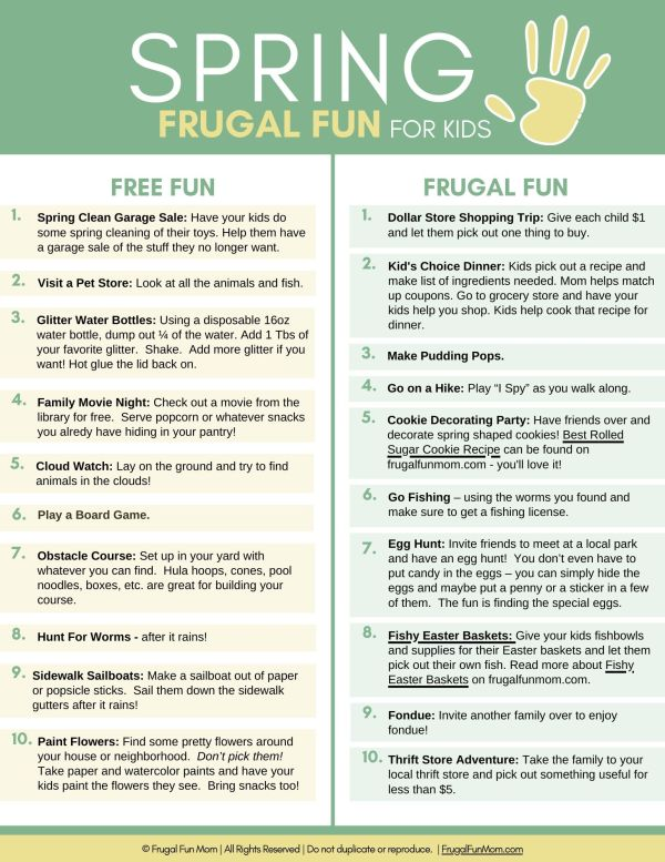 Ultimate Guide To Frugal Fun For Kids Spring | Frugal Fun Mom