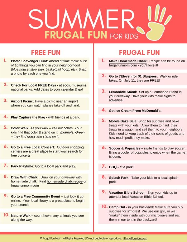Ultimate Guide To Frugal Fun For Kids Summer | Frugal Fun Mom