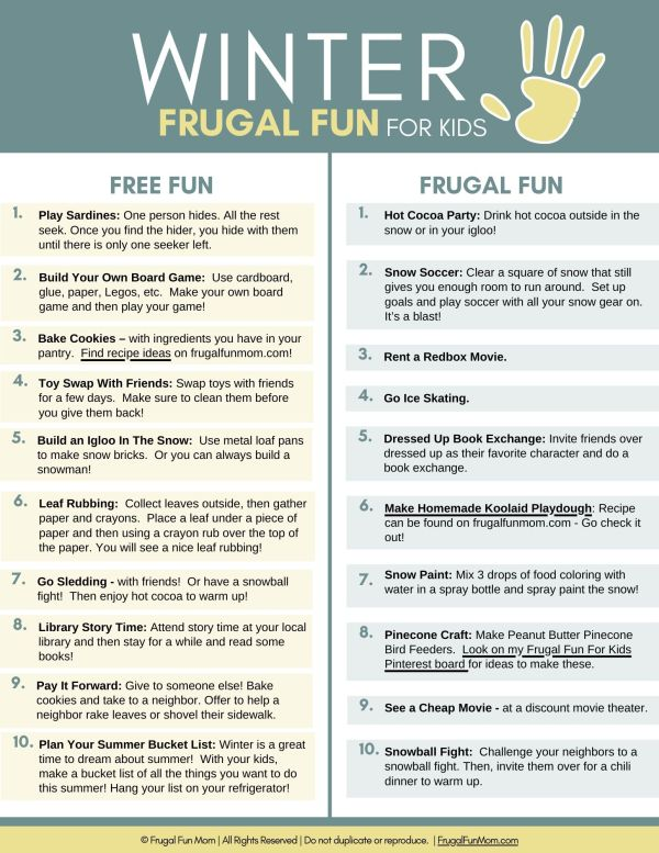 Ultimate Guide To Frugal Fun For Kids Winter | Frugal Fun Mom
