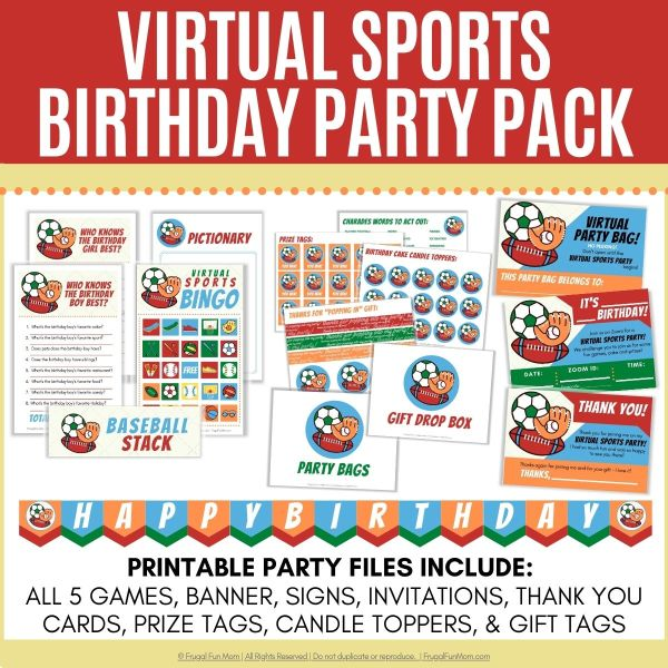 Virtual Sports Birthday Party Pack   Frugal Fun Mom