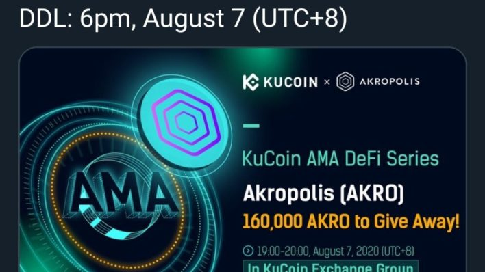 KuCoin Airdrop Alert Accumulate 60,000 AKRO Tokens Worth $1600.  When we say AKRO these are two types of word's that represent two different