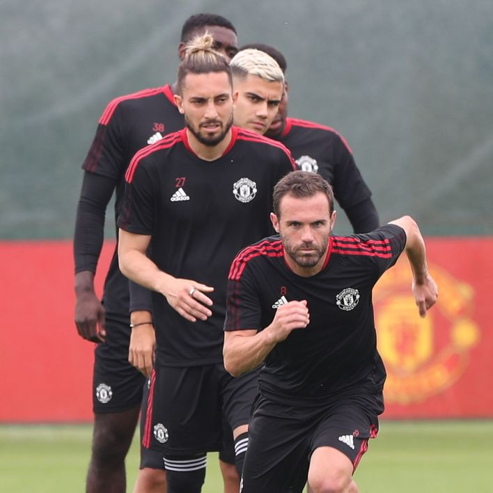 Manchester United's players Racing During Training Session