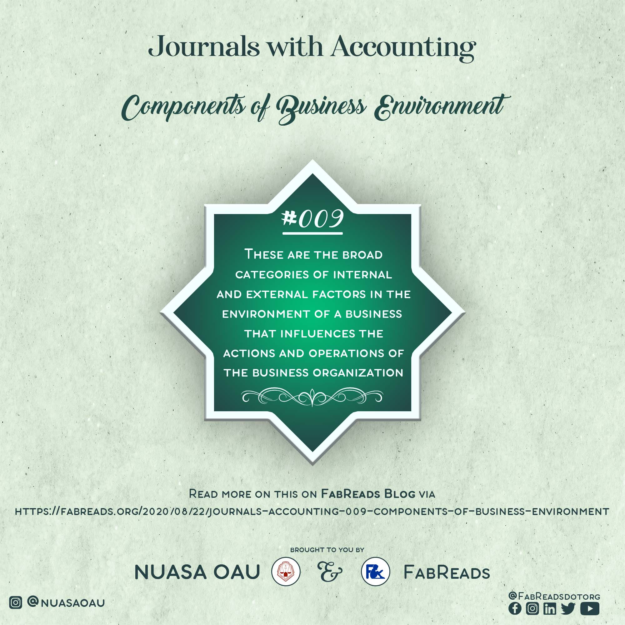 Journals with Accounting – 009 – Components of Business Environment