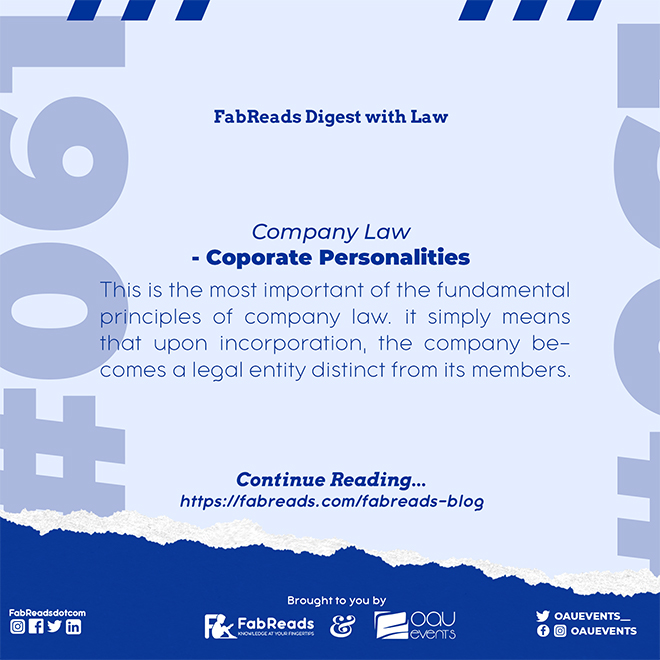 FabReads Digest with Law 061 – Corporate Personalities (Company Law)