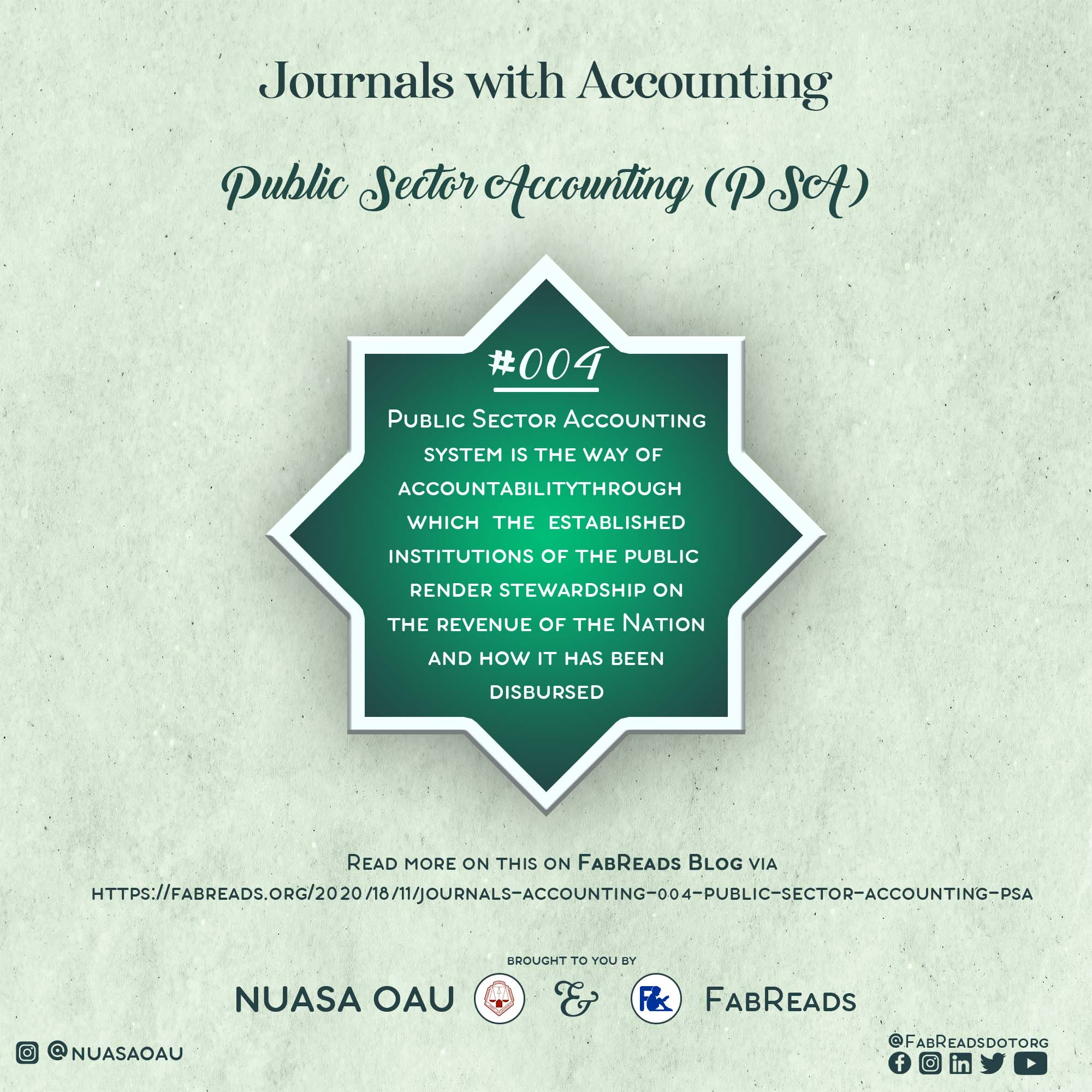 Journals with Accounting 004 – Public Sector Accounting (PSA)
