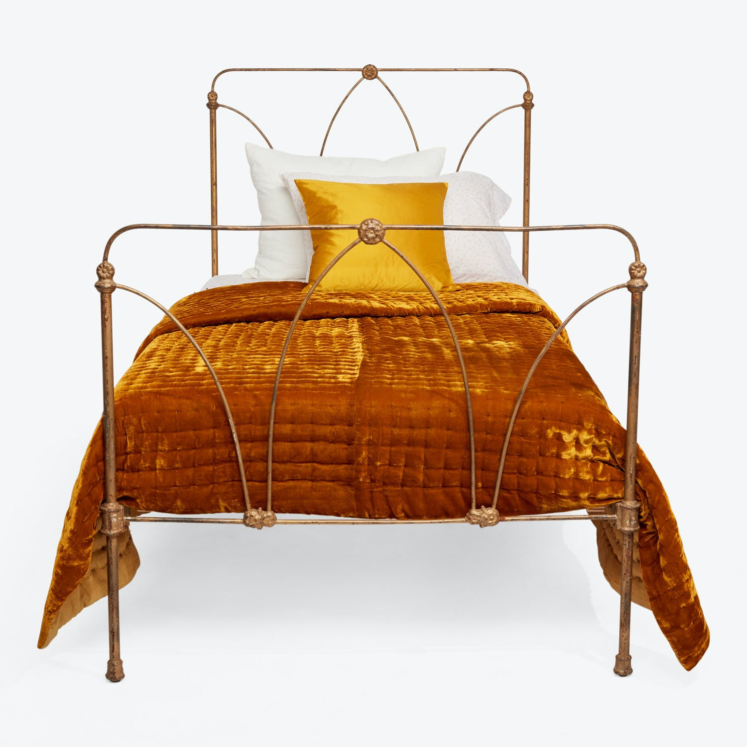 Antique Iron Twin Bed Gold Abc Home