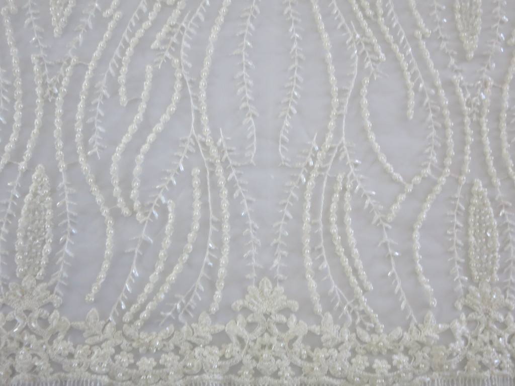 Creamy Off White Embroidered Beaded Sequin Mesh Fabric by