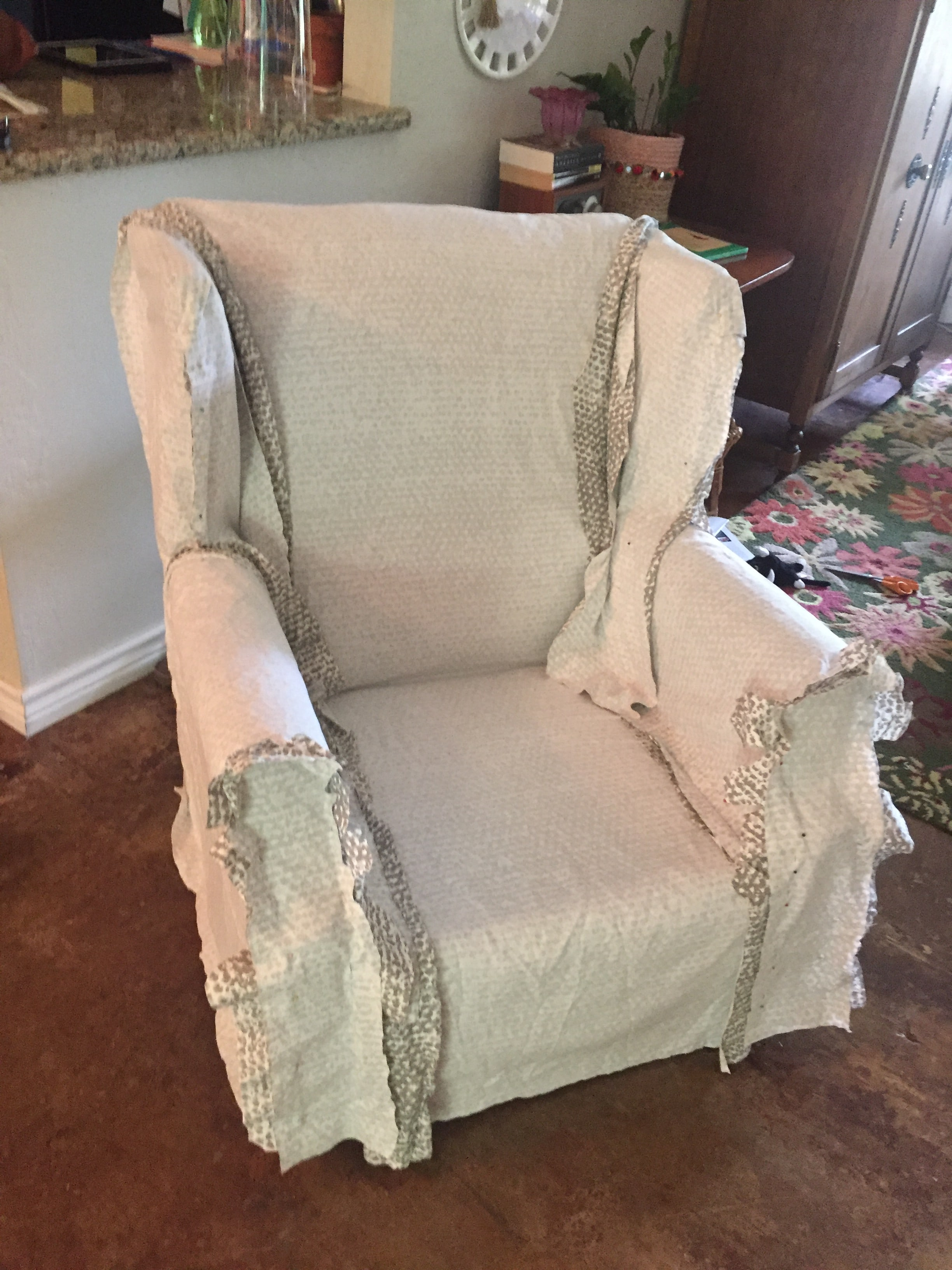 Slip Cover For Chair Wingback Chair Slipcover Tutorial Create Your Own Diy Slipcover