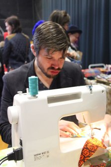 Mike at the sewing machine!