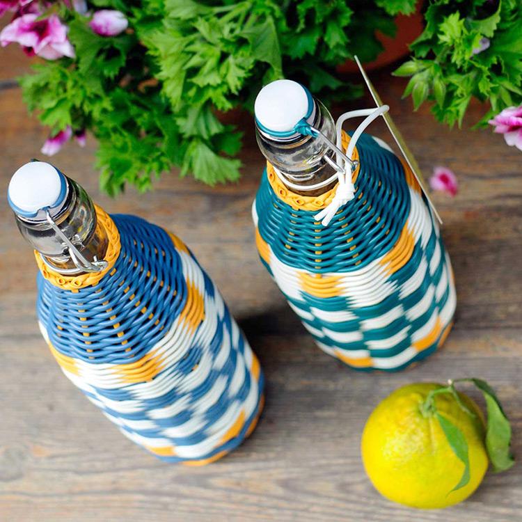 botellas trenzadas scoubidou vintage fabricadeimaginacion3