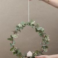 DIY Corona de eucalipto y casita de papel