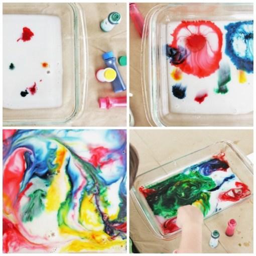 Experiment cu lapte si colorant alimentar