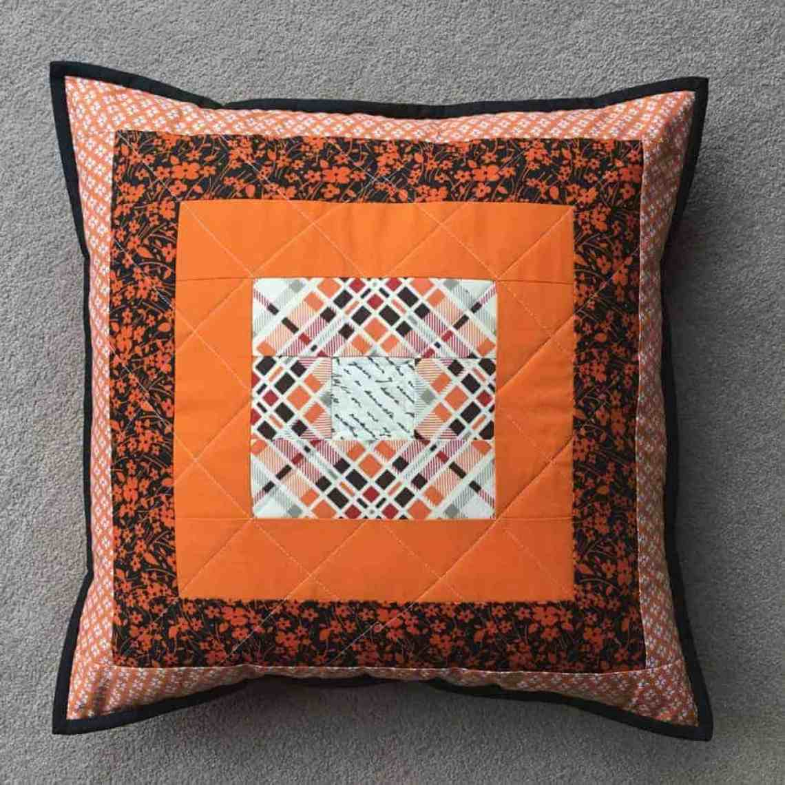 Courthouse steps block cushion by fabricandflowers | Sonia Spence