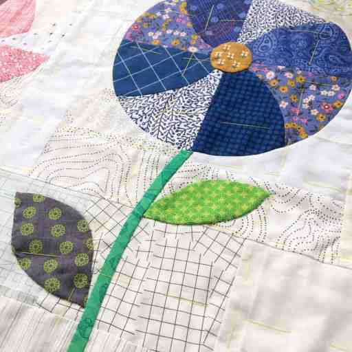 Flowers meadow cushion and tips for sewing curves by fabricandflowers | Sonia Spence