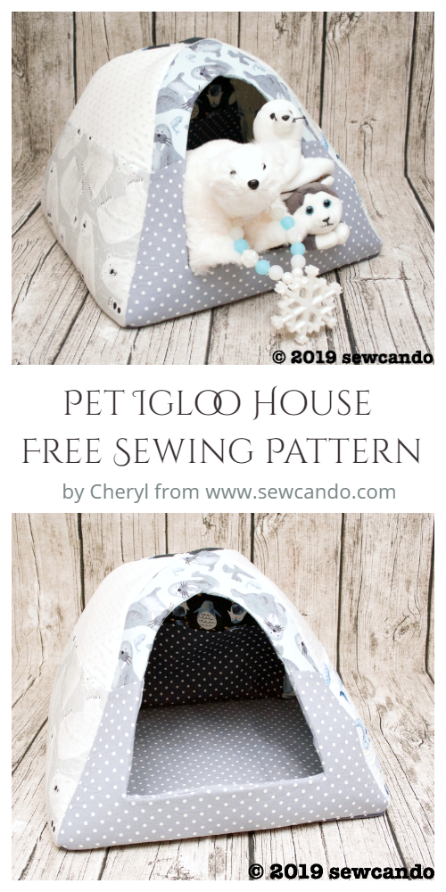 Cat Cave Sewing Pattern : sewing, pattern, Fabric, Igloo, House, Sewing, Pattern
