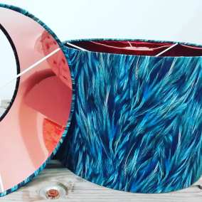 Copper Lined Peacock feather lampshades