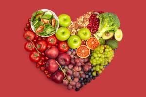 Healthy food in heart shape