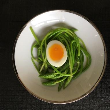 Wild asparagus and egg