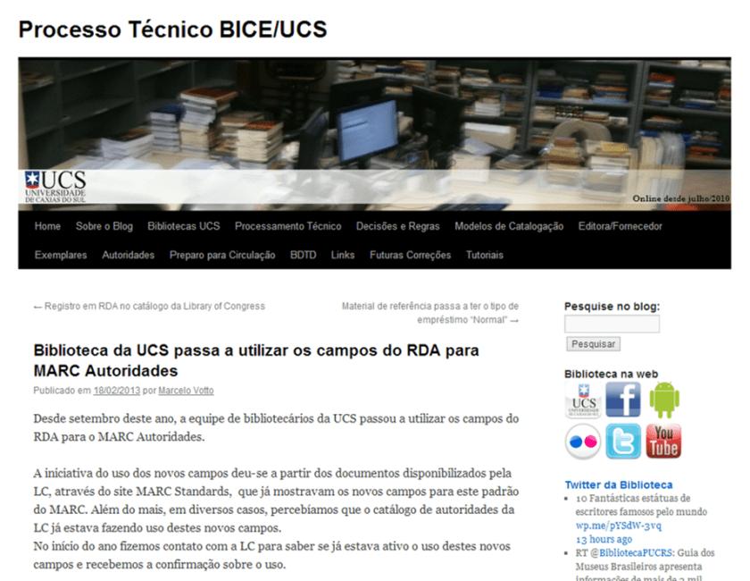 Biblioteca da UCS passa a utilizar os campos do RDA para MARC Autoridades