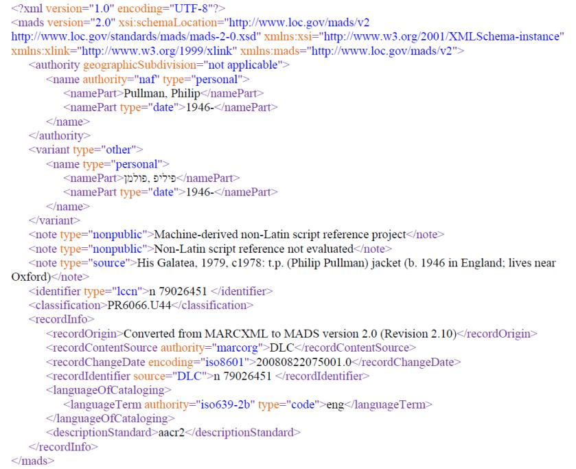 Exemplo de registro MADS