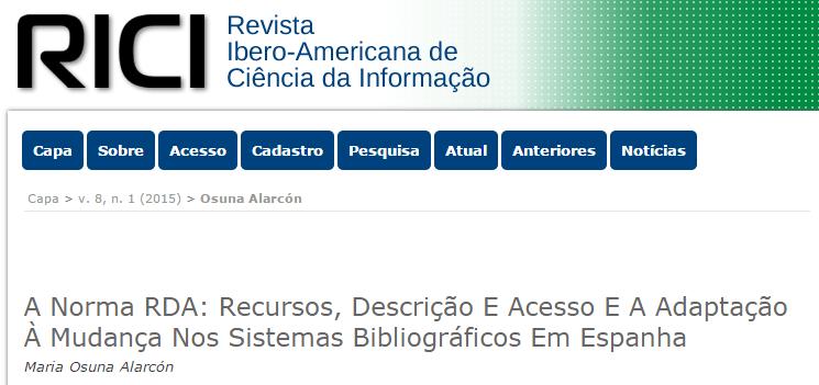 La norma RDA y la adaptación al cambio en los sistemas bibliográficos en España