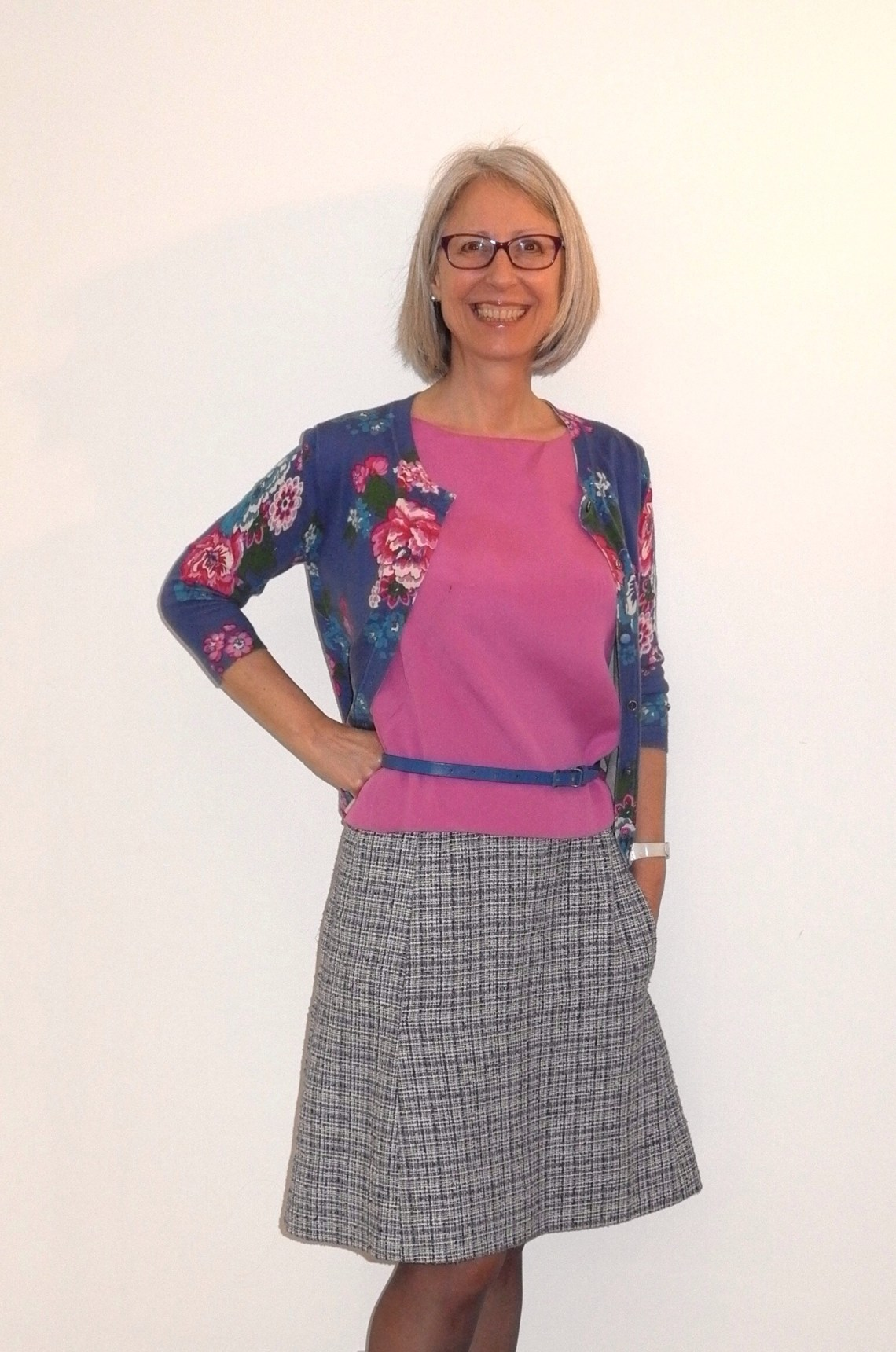 Shell top with tweed skirt and Joules RTW cardigan